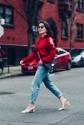 red ruffle sweat shirt with AG jean and chanel shoe-1541