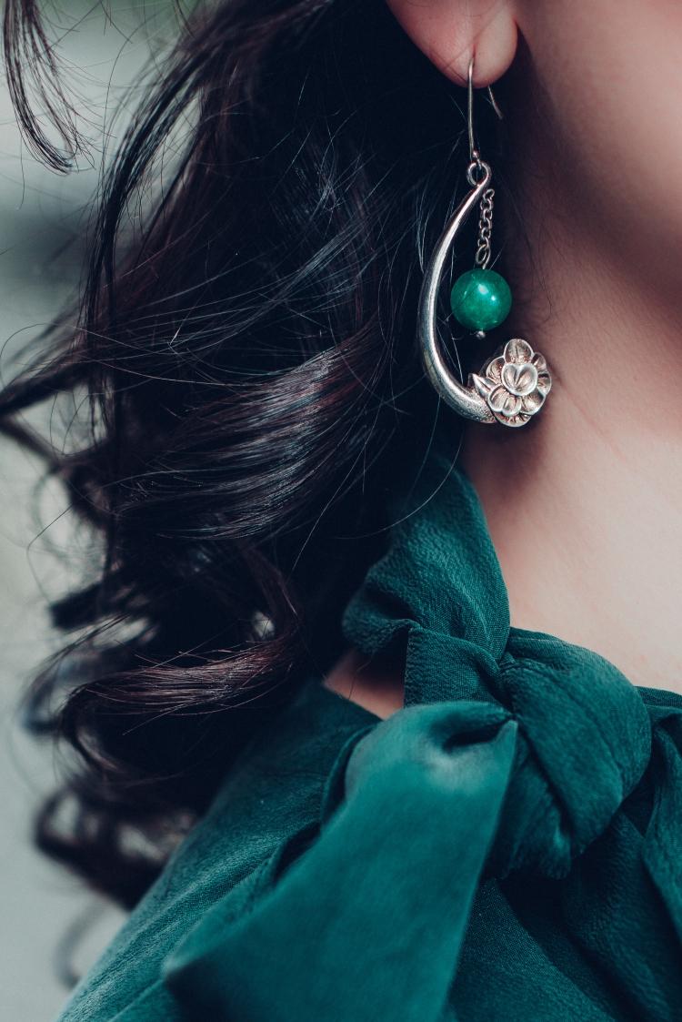 chloe green top with white eyelet skirt-1271