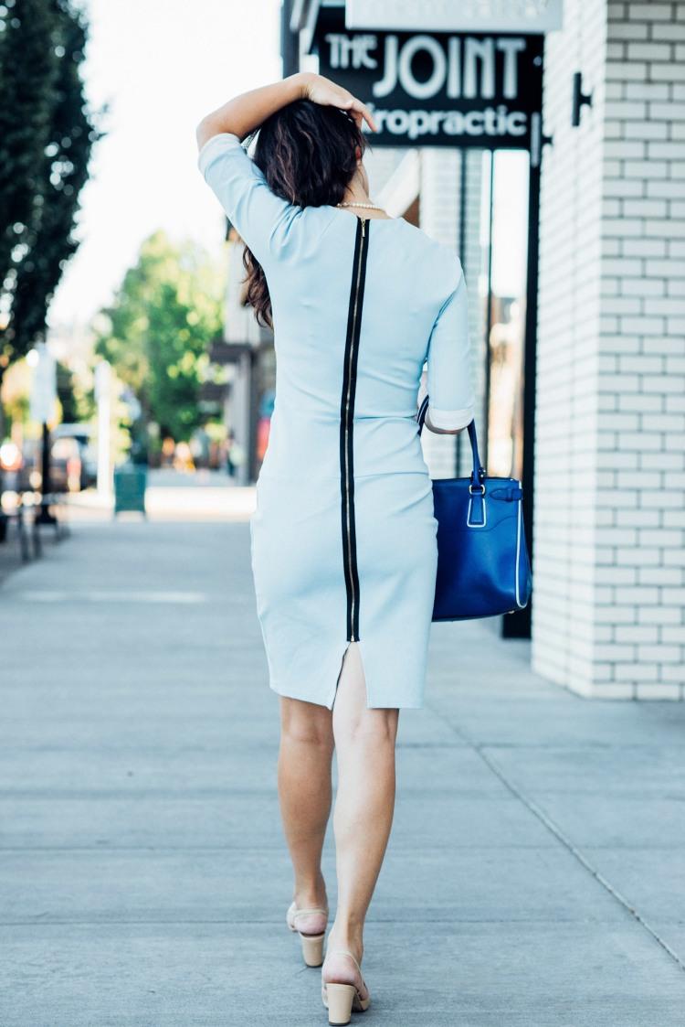 blue custom made light blue dress-5757