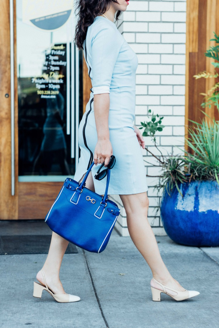 blue custom made light blue dress-5844