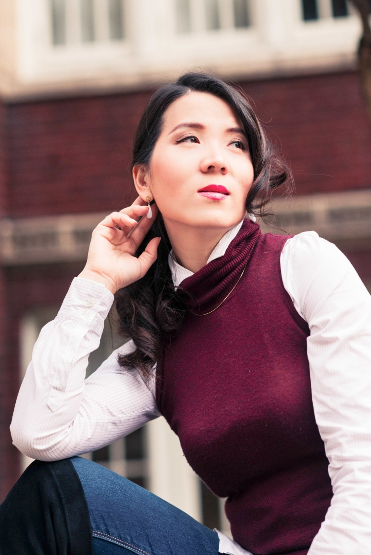 burgundy vest with jean-2849