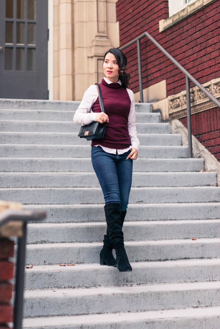 burgundy vest with jean-2893